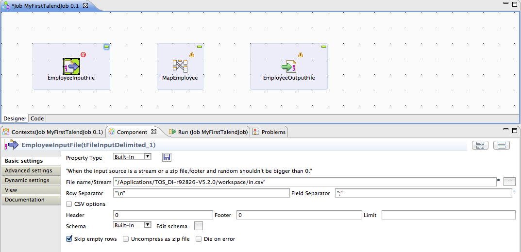 my first talend job image 4