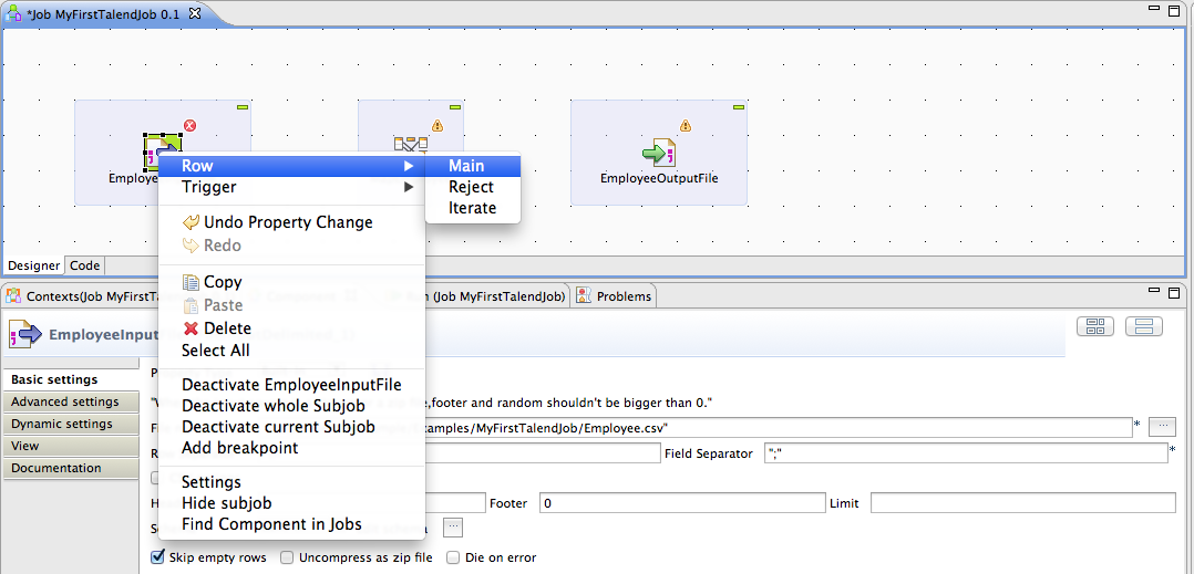 Talend by Example - My First Talend Job