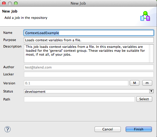 Talend Load Context Example Image 5